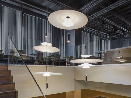 Amenajare restaurant bar industrial corpuri iluminat