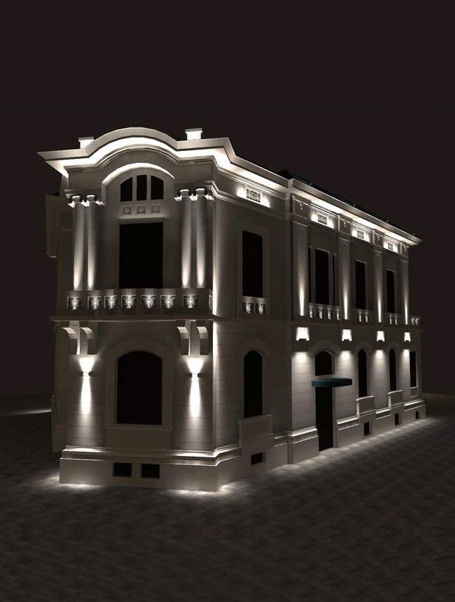 Concept iluminat arhitectural fațade Muzeul de Literatură