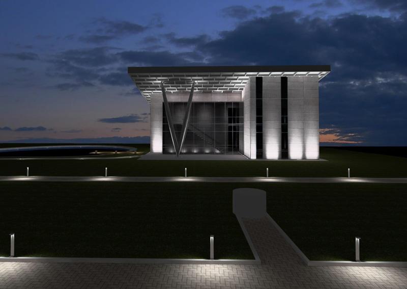 concept iluminat fațade clădire modernă de birouri